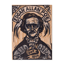 Load image into Gallery viewer, Postcard, Edgar Allan Poe Linocut Printed Letterpress Postcard, Hand Printed Letterpress Author Postcard, Poe The Raven Linocut Postcard