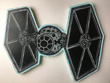 Load image into Gallery viewer, Tie Fighter Woodcut Print on Wood Cutout