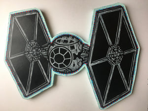 Tie Fighter Woodcut Print on Wood Cutout