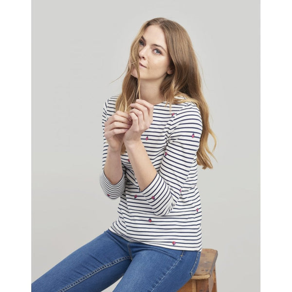 Joules Harbour print top - Cream Ladyird stripe