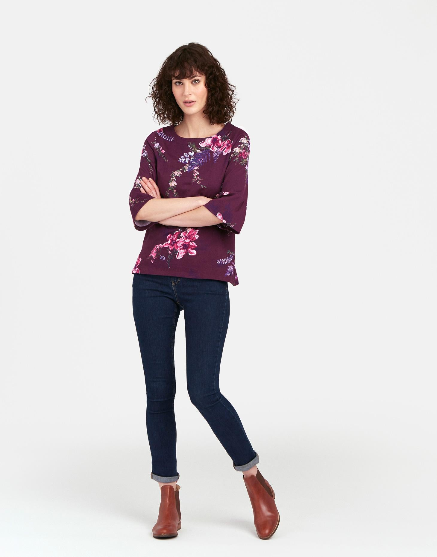 Joules Francesca top - printed Plum Harvest Floral Jersey