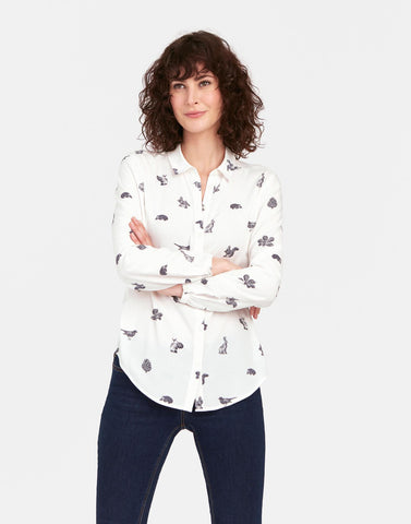 Joules Cream Etched Animal Printed Shirt