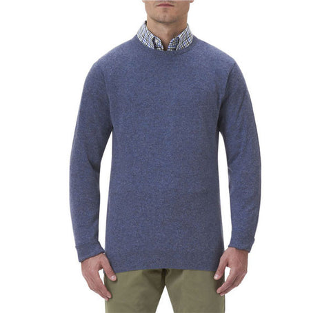 barbour essential crew neck lambswool jumper light denim