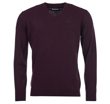 Barbour Essential v neck jumper dark cordovan