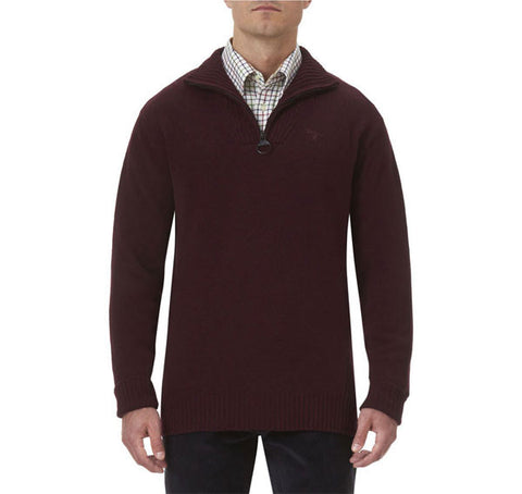 barbour essential zip neck lambswool jumper dk cordavan