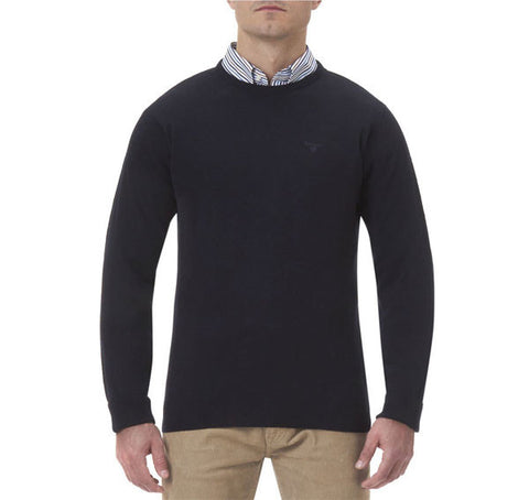 barbour essential crew neck lambswool jumper navy