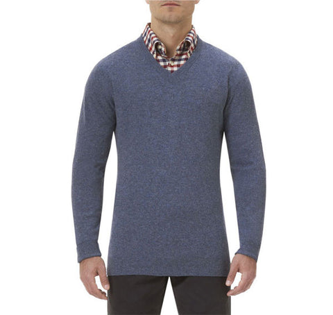 barbour essential v neck lambswool jumper light denim