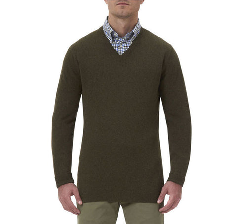 barbour essential v neck lambswool jumper seaweed