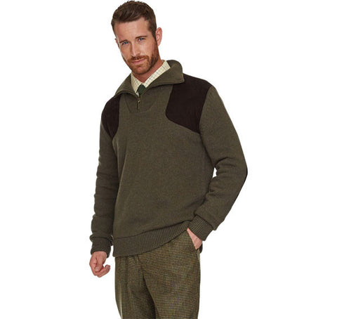 barbour fellan sports half zip jumper seaweed
