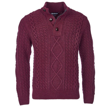 Barbour Kirktown half button sweater merlot