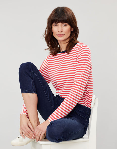 Joules Selma Long Sleeve Jersey - Cream and Red Stripe