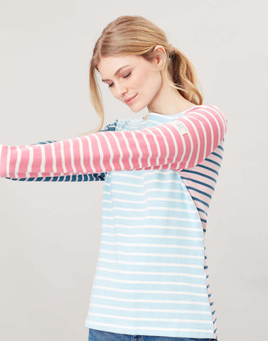 Joules Harbour Long Sleeve Top - Blue Cream Stripe