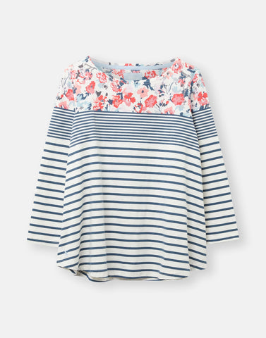 Joules Harbour Light Swing Jersey top - Cream Blue Floral Border