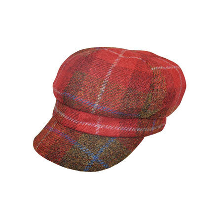 Failsworth harris tweed bakerboy hat in red