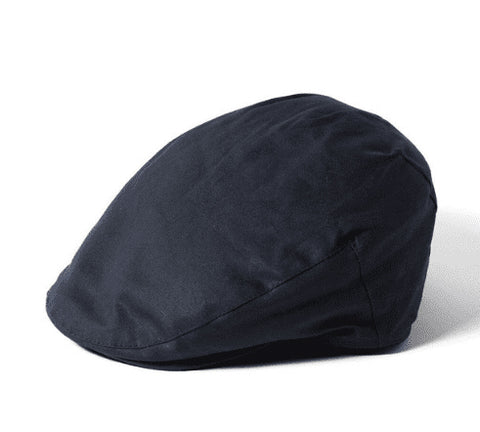 Waxed Flat Cap - Navy
