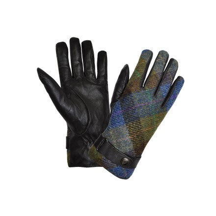 Failsworth ladies harris tweed and leather gloves purple