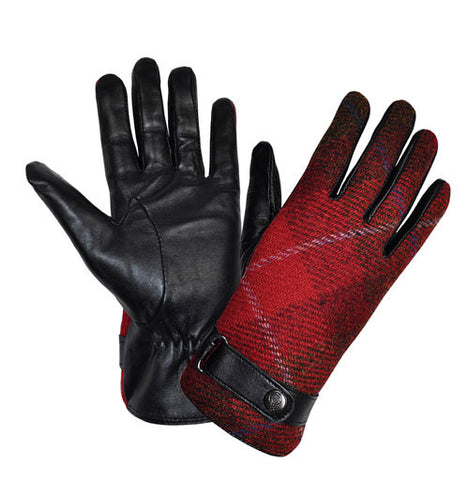 Failsworth ladies harris tweed and leather gloves red