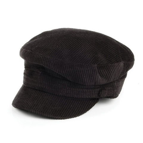 Failsworth hats mariner corduroy fiddlers cap in black