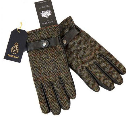 Failsworth harris tweed and leather gloves brown
