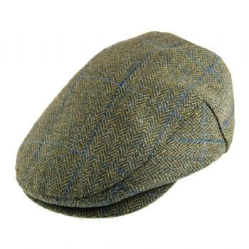 Failsworth waterproof tweed cap in sage and blue
