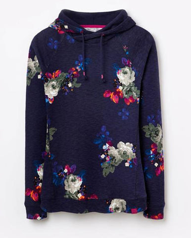 Joules Marlston hooded sweatshirt in navy floral