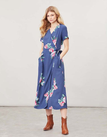 Joules Callie Print wrap dress with angled pockets - Floral blue