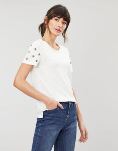 Joules Carley Embroidered classic crew neck top - Cream bee