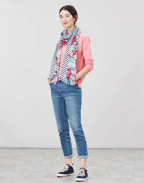 Joules Conway rectangle scarf - Navy floral border