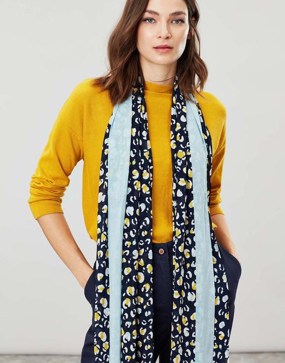 Joules Conway rectangle scarf - Navy leopard