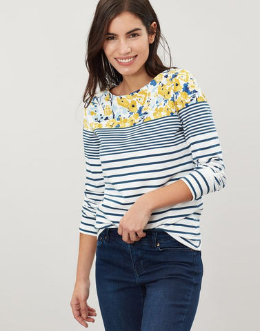 Joules Harbour Print long sleeve jersey top - Cream blue floral