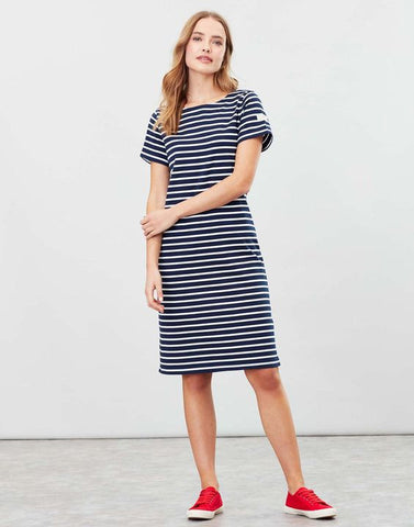 Joules Riviera Long length jersey dress - Navy cream stripe