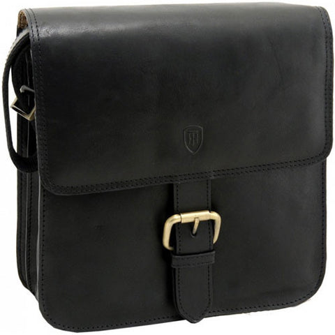 Lichfield leather tumble and hide novara across body cartridge bag in black