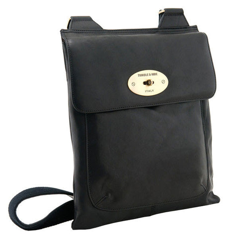 lichfield leather sorrento flap over bag black