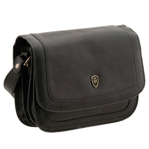 lichfield leather trento flap over bag black