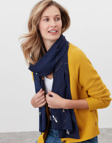 Conway Printed Scarf Navy Bee