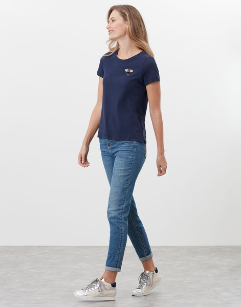 Carley Print Classic Crew T-Shirt with Bee Embroidery in French Navy Bee