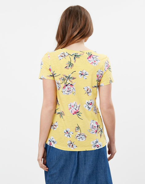 Carley Print Crew T-Shirt in Lemon Floral
