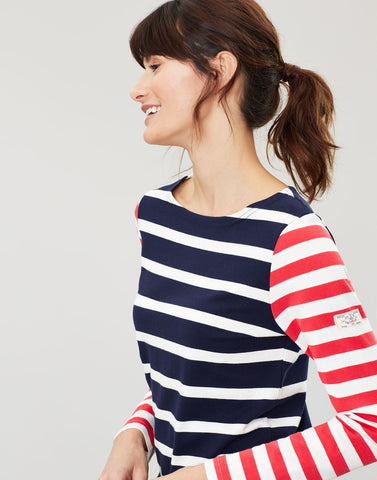 Harbour Navy Cream Stripe Long Sleeve Jersey Top