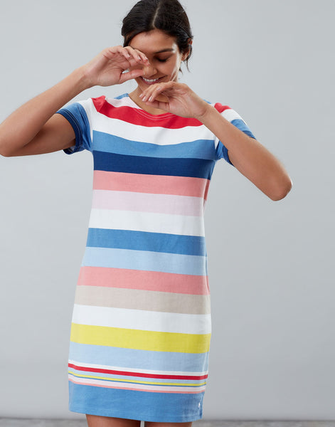 Joules Riviera dress - Blue multi stripe