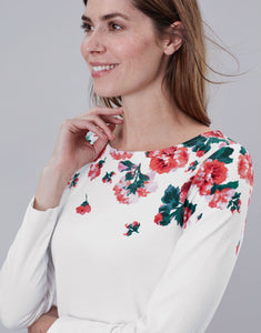 Joules Harbour print top - Cream Rose Border