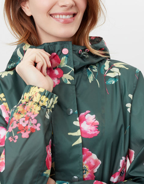 Golightly Green Floral Printed Waterproof Packaway Jacket