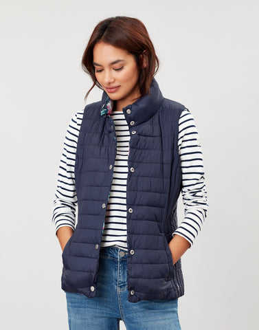 Windermere Navy and Pink Floral Reversible Gilet
