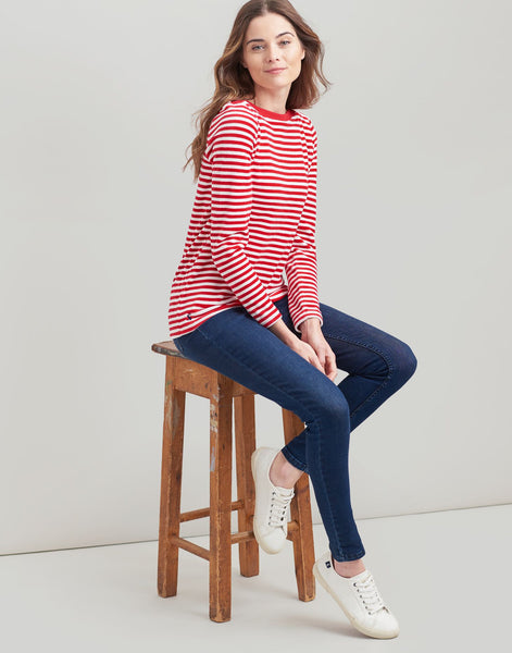 Esme Striped Velour Jersey Top - Cream Red