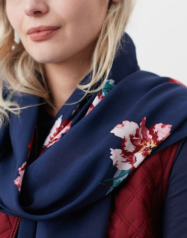 Conway Printed Scarf Navy Peony