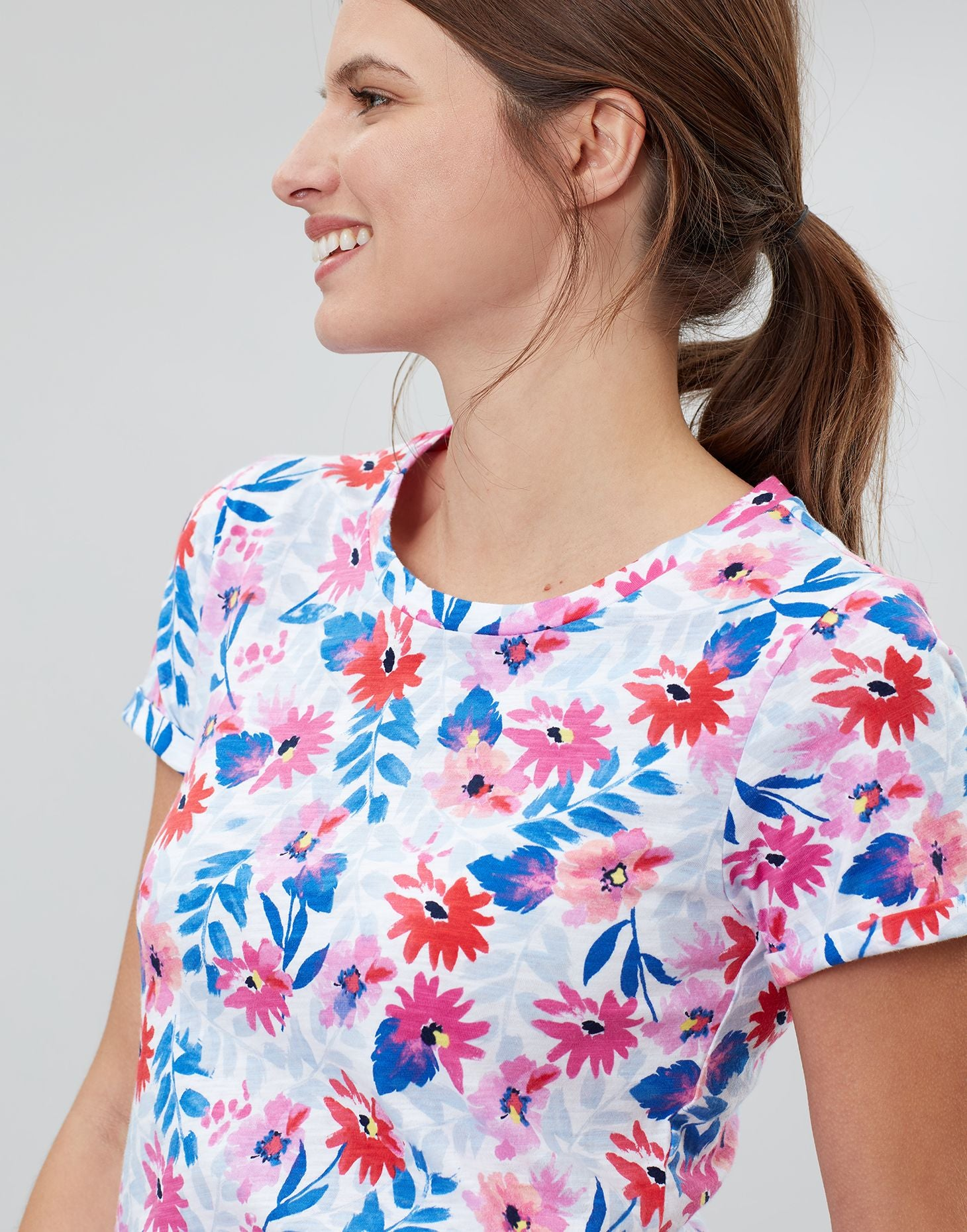 Joules Nessa print t-shirt - White floral