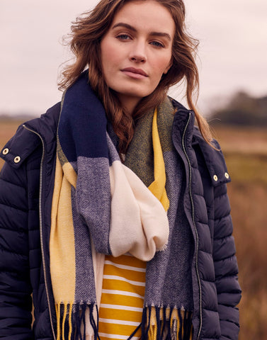Farah Check Scarf In Blue Yellow Check