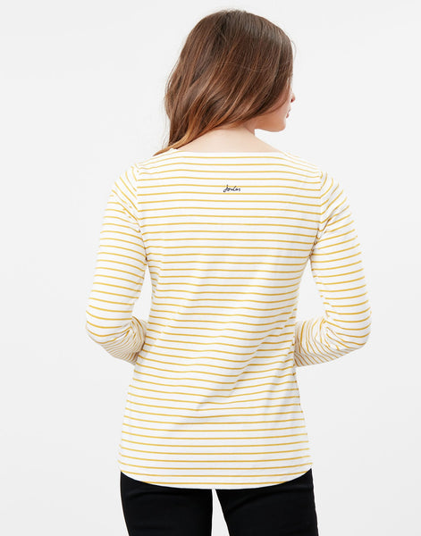 Harbour Print Long Sleeve Jersey Top in Cream Gold Stripe