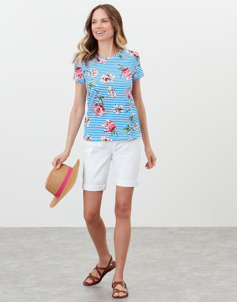 Carley Print T-Shirt in Blue Floral Stripe