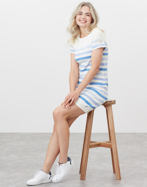 Riviera Jersey Dress With Short Sleeves in Cream Stripe