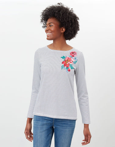 Harbour Print Long Sleeved Top French Navy Floral Stripe